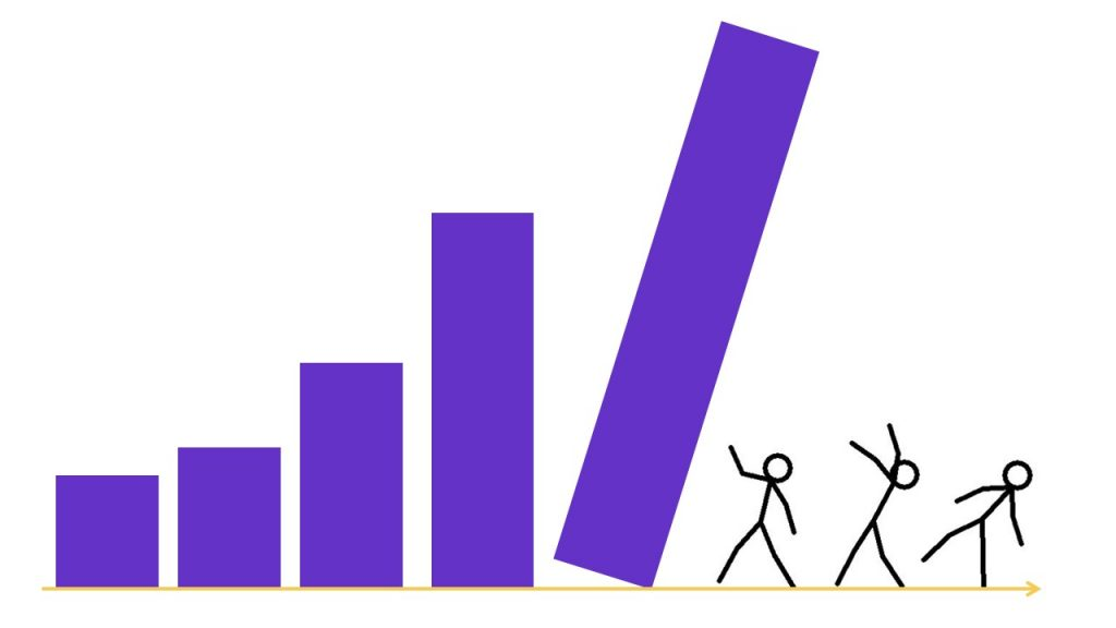 Bar charts falling onto stick people.