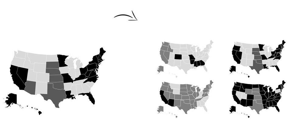 Example of a small multiples chart using outlines of the United States.