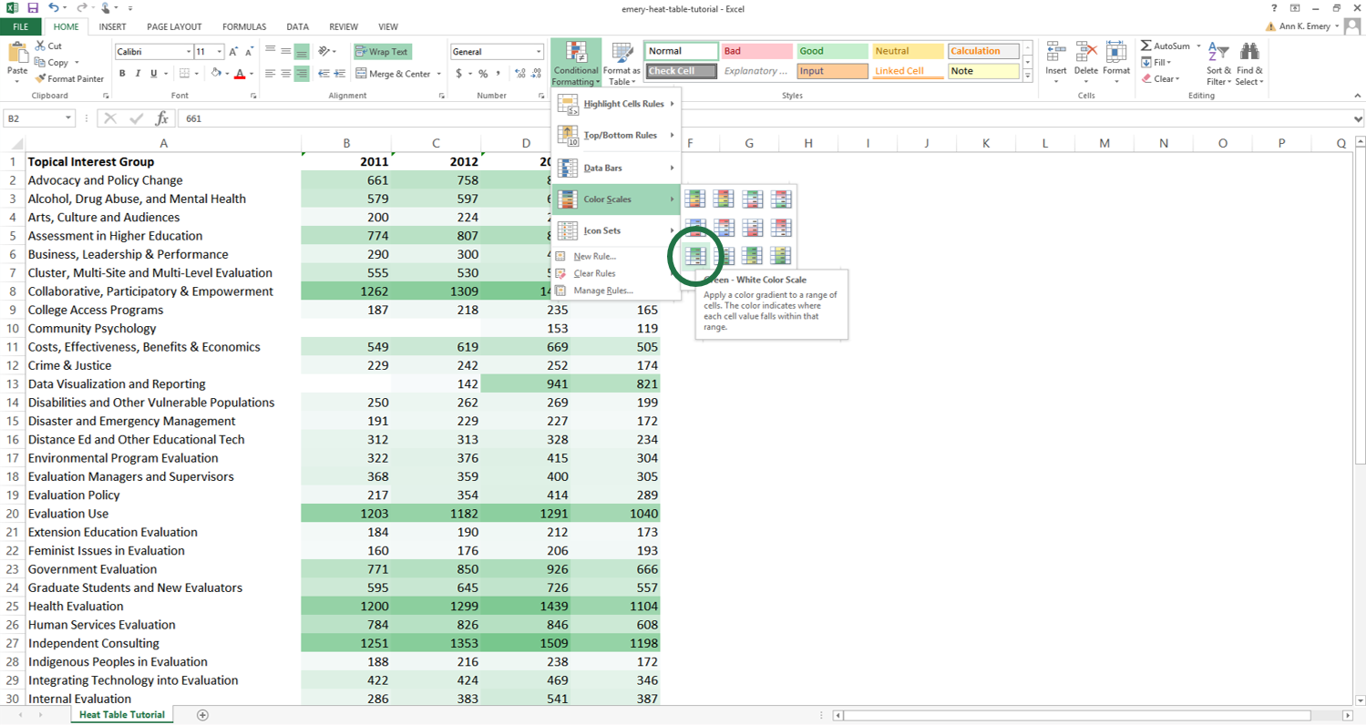 How to Make a Heat Table in Microsoft Excel   Depict Data Studio