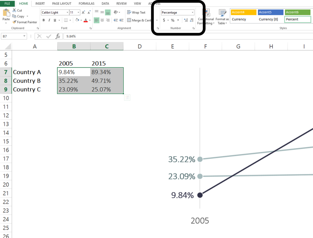Screenshot of Excel spreadsheet showing how to let Excel round up or down decimal points while hiding original number.