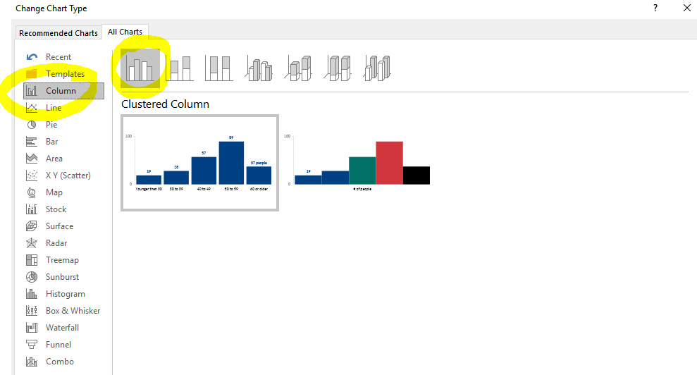 Scan the listing of chart types along the left, select a vertical column chart, and hit OK to magically transform your bar chart.