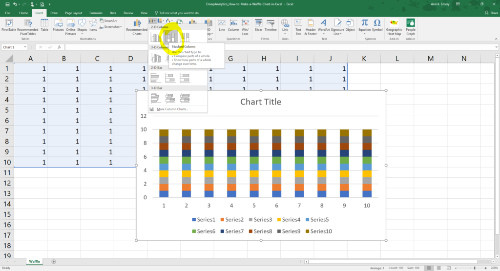 Then, highlight your 1's, go to the Insert tab, and select a 2D stacked bar chart.