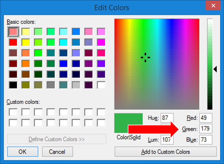 The following is the screen that pops up when you edit colors, record the RGB codes for later use.