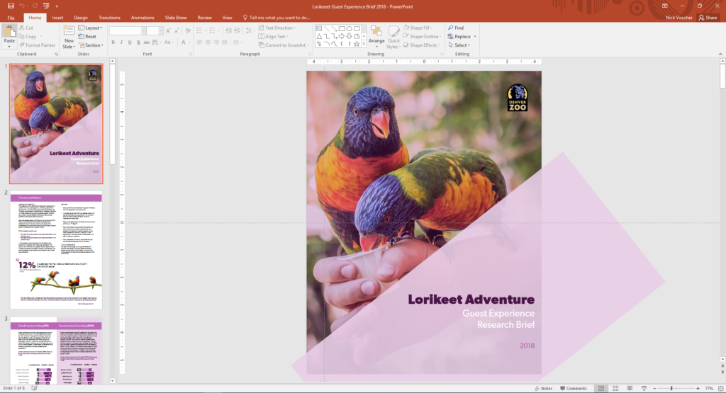 Nick Visscher's opening page of the Lorikeet Adventure report