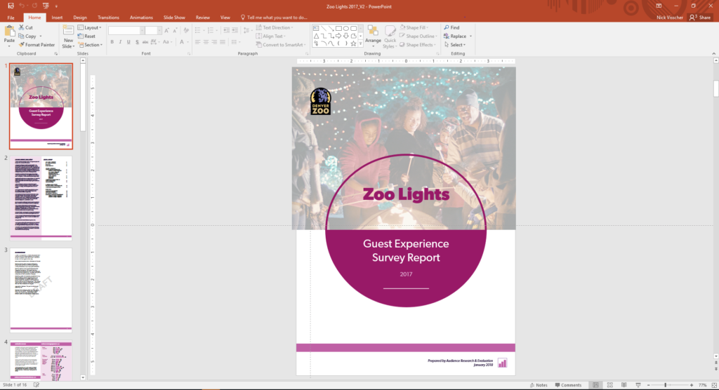 The first page of Nick Visscher's Zoo Lights report