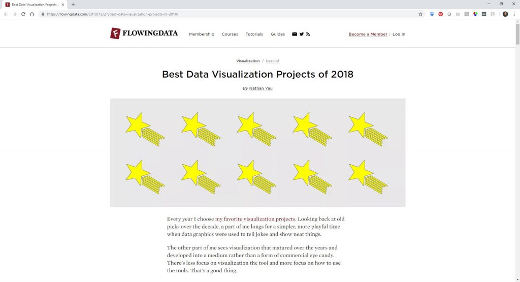"Nathan Yau of FlowingData described his picks for the Best Data Visualization Projects of 2018. I was glad to see that the Women's Pockets Are Inferior"" project Jan Diehm and Amber Thomas made the list. Their diagrams comparing men's and women's pocket sizing was a personal favorite."