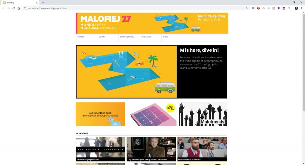 The Malofiej 2019 conference website