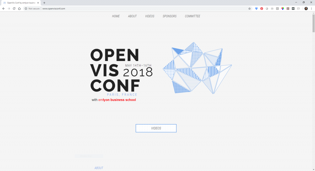 A screenshot of the OpenVis website with information about the 2018 conference.