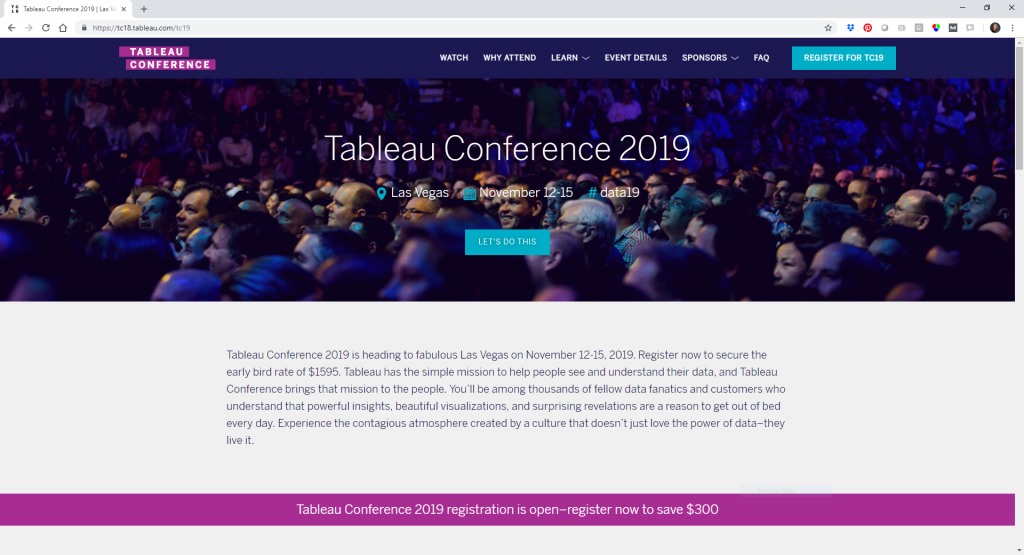 Tableau's 2019 conference website