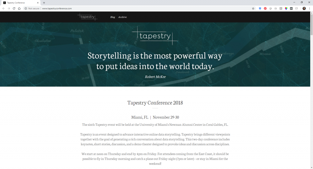 The Tapestry Conference's 2018 website