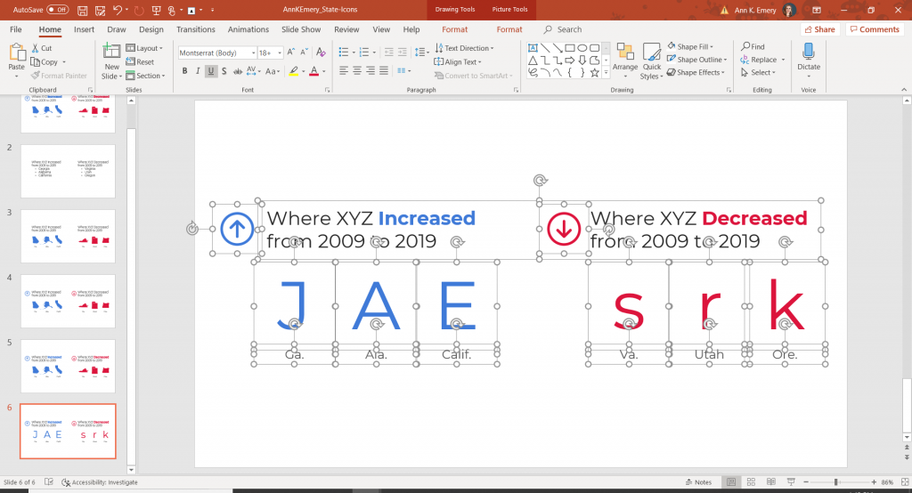 This is a screenshot from Microsoft PowerPoint, where I'm showing how I typed in the letters J, A, E into text boxes.