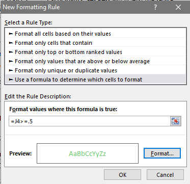 This rule description box shows us that we can choose which cells to format.