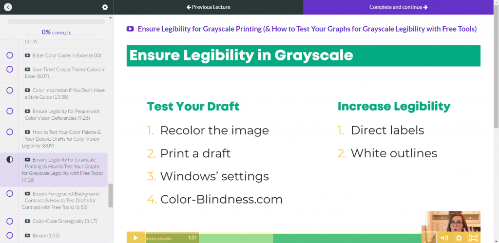 A presentation slide instructing how to 'Ensure Legibility in Grayscale'.