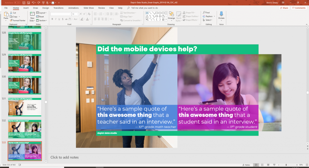 Image of a presentation slide. Design alternatives are to the left.