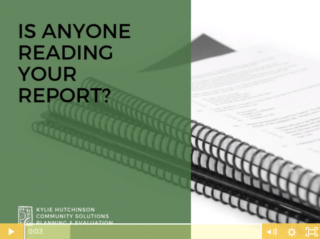 Image of presentation slide from guest presenter Kylie Hutchinson titled 'Is Anyone Reading Your Report?'