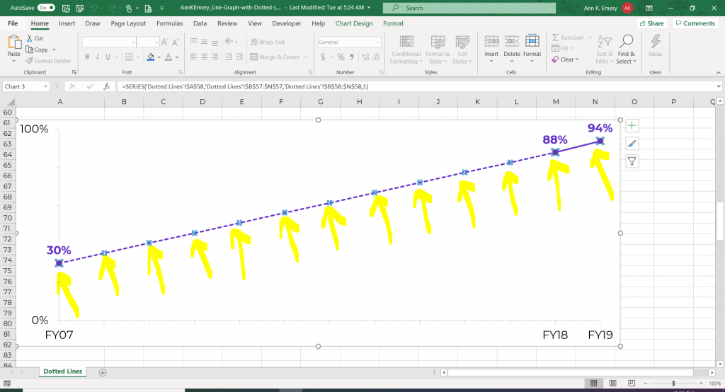 Screenshot showing in Microsoft Excel how to change a solid line into a dotted line.
