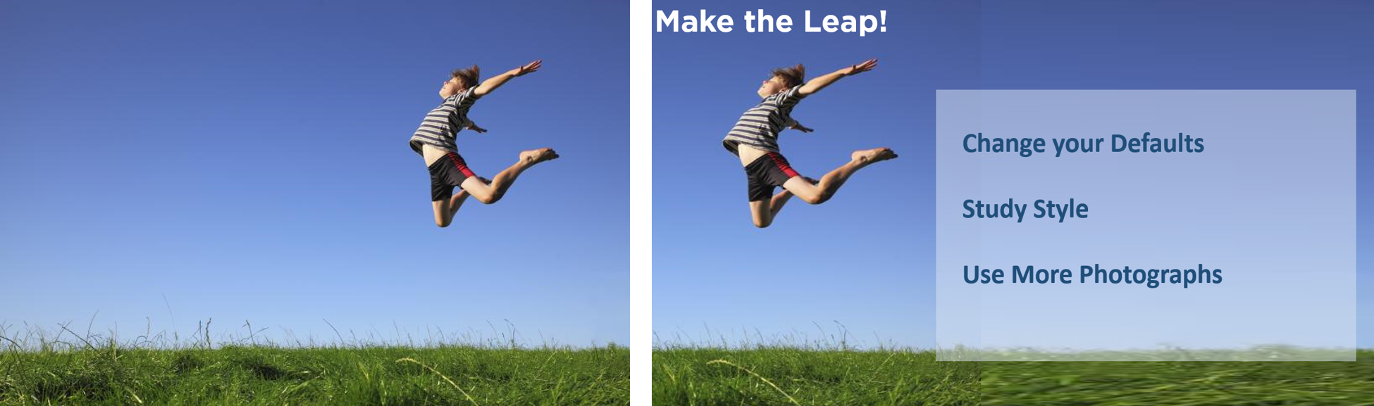 Screenshot of identical images of boy jumping in the air with one image having text added.