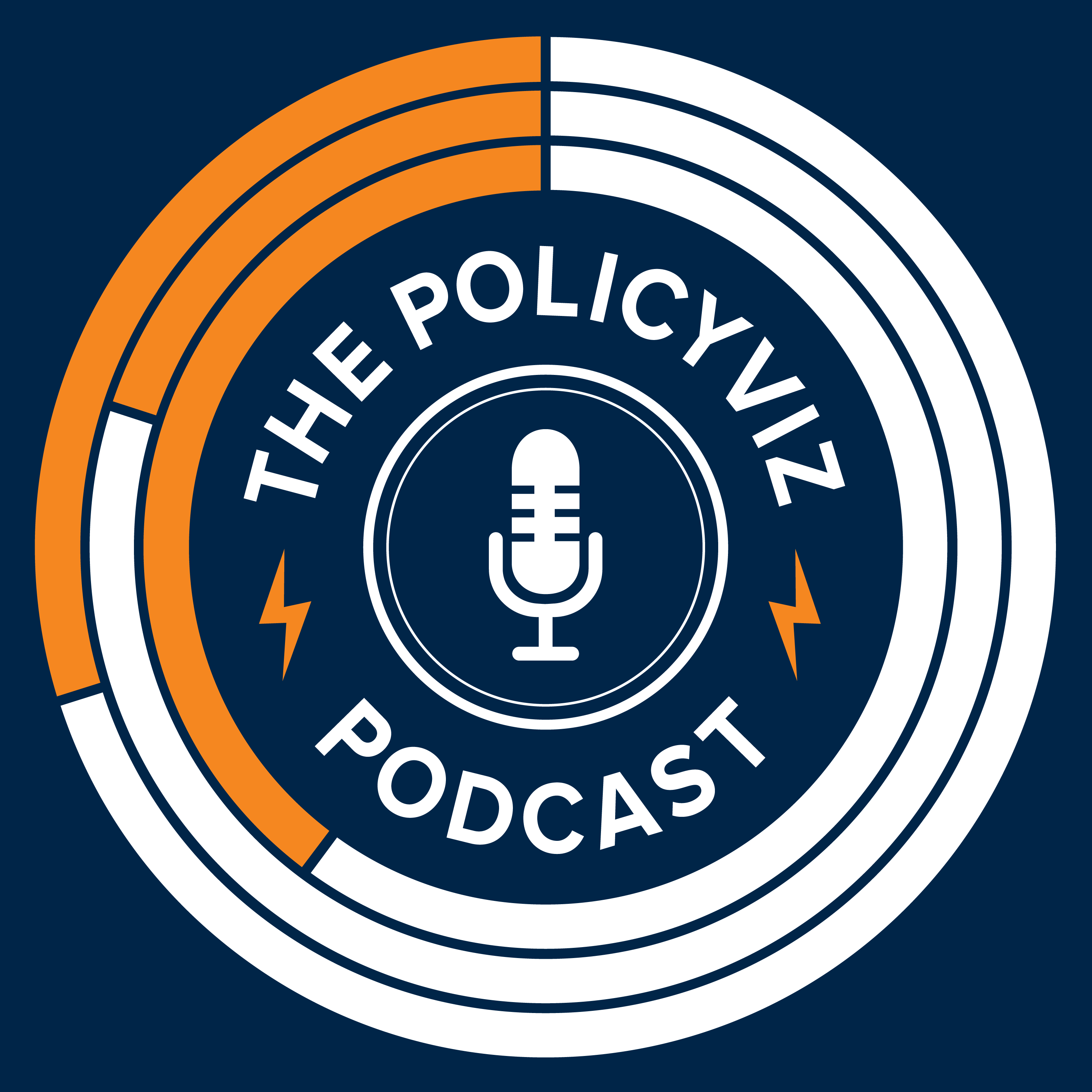 The PolicyViz podcast logo, which is navy, orange, and white, and features a microphone in the center.