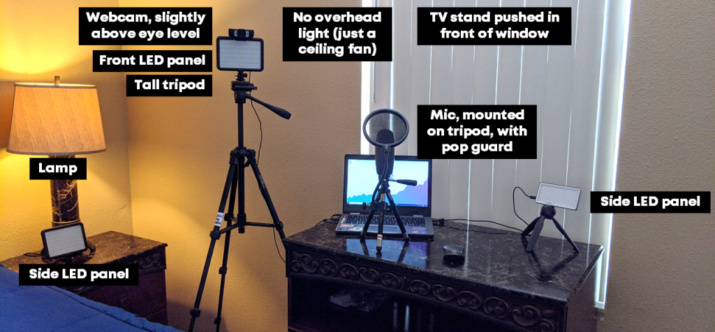 Picture of Ann K Emery's current home office set up that includes  a webcam, LED light panels, tripods, microphone and different light sources.