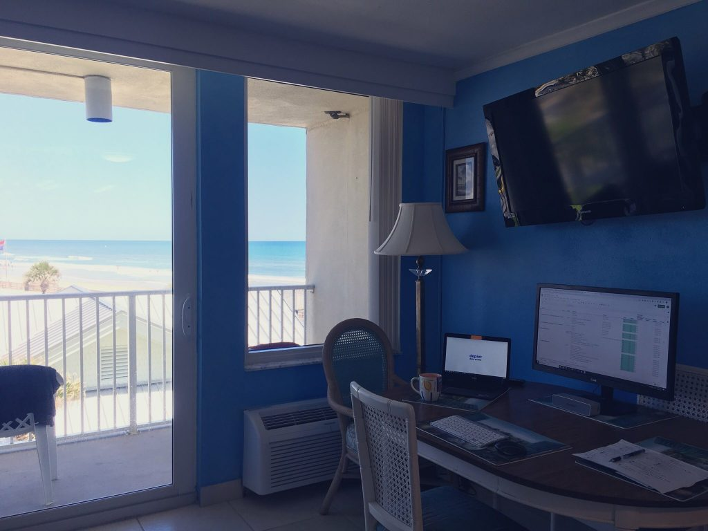 "We spent our first five weeks in Daytona Beach, where I continued running Depict Data Studio from my ""home"" office at our Airbnb on the beach."