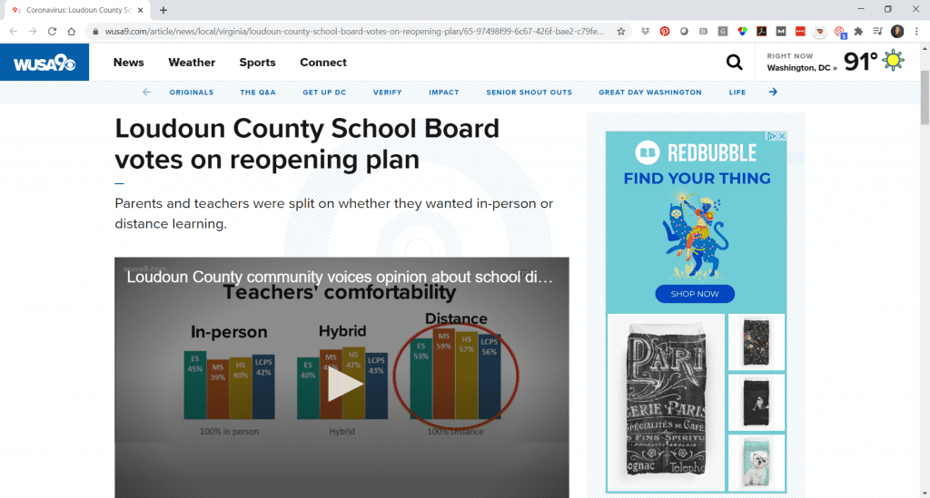 A local new station featured Vivian Jefferson's graphs in their story about Loudoun County Public Schools reopening plan during COVID-19.