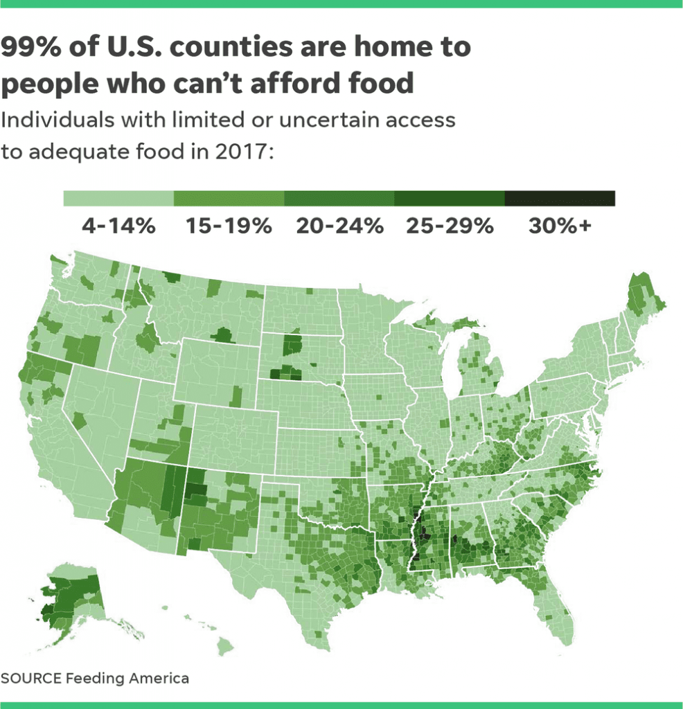 Map of the United States used in a social media post. Source: tennessean.com, image: feedingamerica.org.