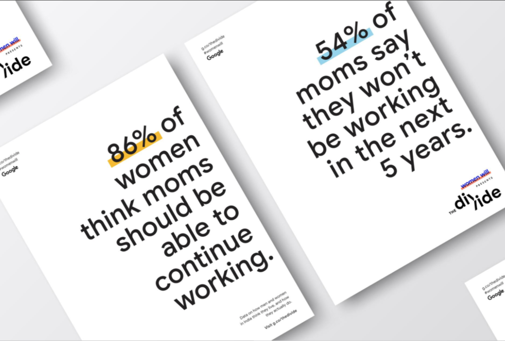Just one large number can capture attention like in this image that says 86% of women think moms should be able to continue working.