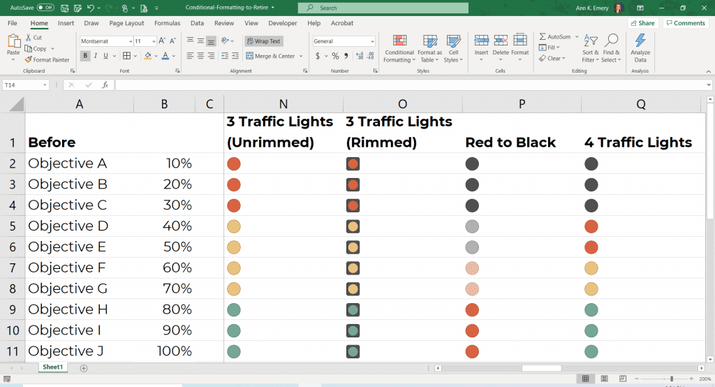Now, Excel is saying that black is even worse than red?? These inconsistencies kill me. And since when do traffic lights have 4 different colors? I've never seen a black lightbulb in a traffic light. So more for intuitive traffic light coding.