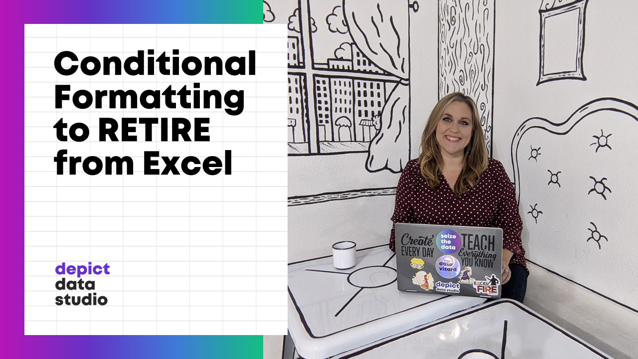 "Ann K. Emery sitting at a table with her laptop. The blog post's keywords are in the image: ""Conditional Formatting to RETIRE from Excel."""