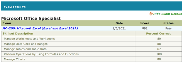 Screenshot showing Excel exam test results.