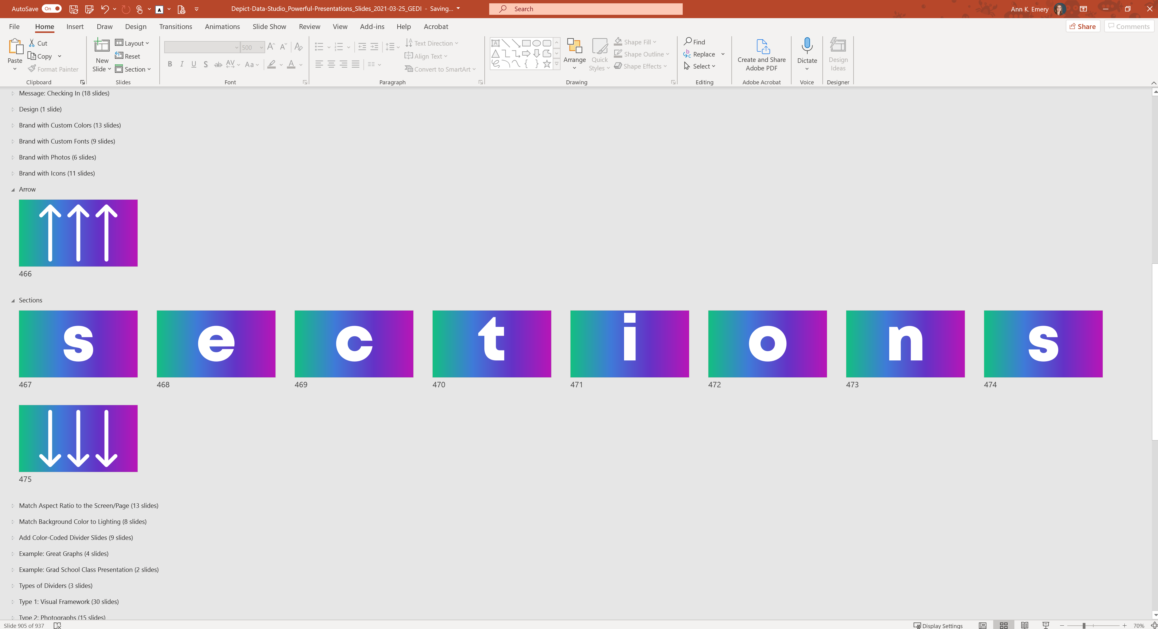 Use Sections in Microsoft PowerPoint to organize your slides better.