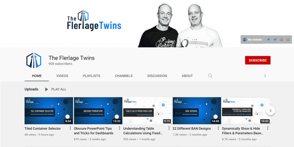 TheFlerlageTwins are Tableau Zen Masters and Youtubers who have a popular Youtube channel that covers all things Tableau.